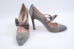 SJP-Sarah-Jessica-Parker-Prima-gray-9-5-39-5-bow-mary-jane-pump-shoe-NEW-385