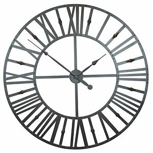Extra-Large-110cm-Rustic-Industrial-Roman-Numeral-Metal-Wall-Clock-Limited-Qty