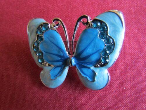 Mariposa Azul Broche De Metal Esmalte pedrería en tono plateado regalo de Navidad