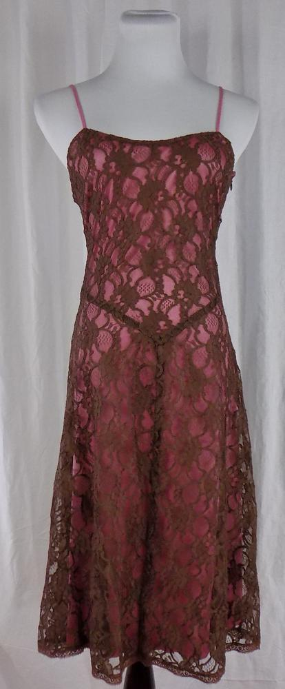 BETSEY JOHNSONNew YorkSz 4Pink Dress With Brown Floral Lace Overlay