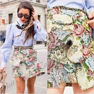 9f47c10645 Zara Floral Jacquard Mini Frill Frayed Skirt Size UK 6 8 10 US 2 4 6 ...