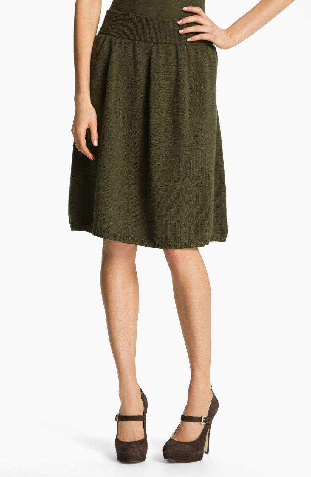 198 Eileen Fisher Fine Merino Wool Cyprus A-Line Knee Length Skirt L