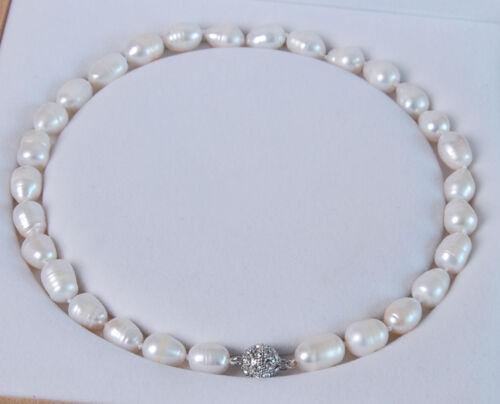 "11-13 mm Genuine White Akoya Cultured Pearl Collier Aimant Fermoir 18/"""