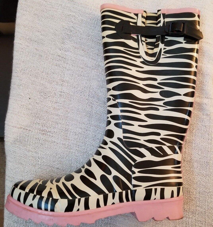 Tamara henriques Zebra Print Rain boots Sz 10M Waterproof Gardening Wellys