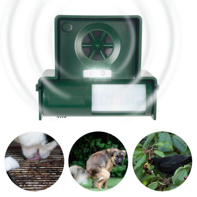 Ultraschall Tierschreck Tierabwehr mit LED Blitz gegen Hunde Katzen Fuchs Marder