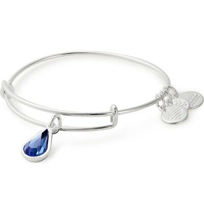 Alex and Ani SEPTEMBER SAPPHIRE TEARDROP Silver Charm Bangle New W//Tag Card /&Box