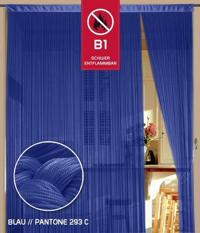 Hilo cortina hilo puertas feria B 1 difícil cm entflammbart 150 cm difícil x 500 cm (AnxAl) azul ca54a7