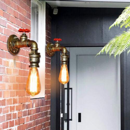 2 Stücke Vintage Retro Metall Loft Rohr Wandleuchte Lampe Cafe Bar Wand Leuchter