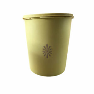 Vintage-1pc-Yellow-Tupperware-Nesting-Servalier-Container-Canister-w-Lid-805-6