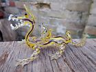 VINTAGE MURANO GLASS FIGURE OF A CHINESE DRAGON WITH COLOURED SPIRAL AIR TWISTS