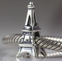 Authentic.925 Solid Sterling European Charm Fits Pan Bracelet Eiffel Tower