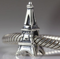 Authentic.925 Solid Sterling European Charm Fits Pan Bracelet Eiffel Tower