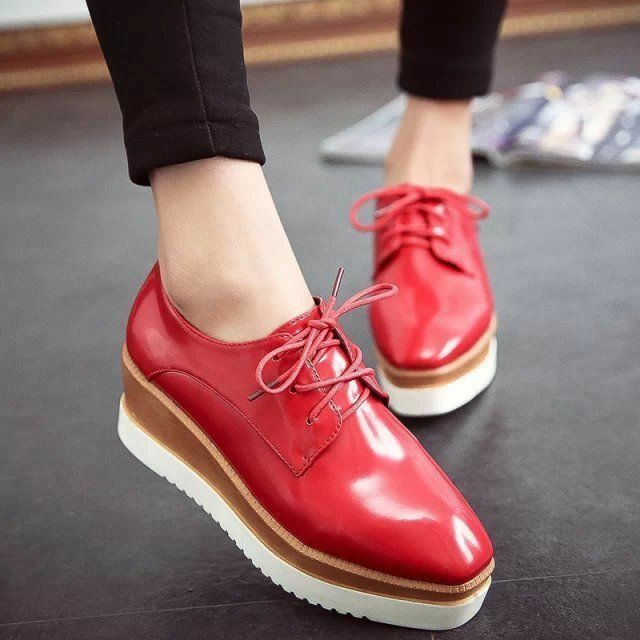 Womens Wedge Mid Heels Platform Gothic Lace up Brogue Creeper Shoes New Oxfords