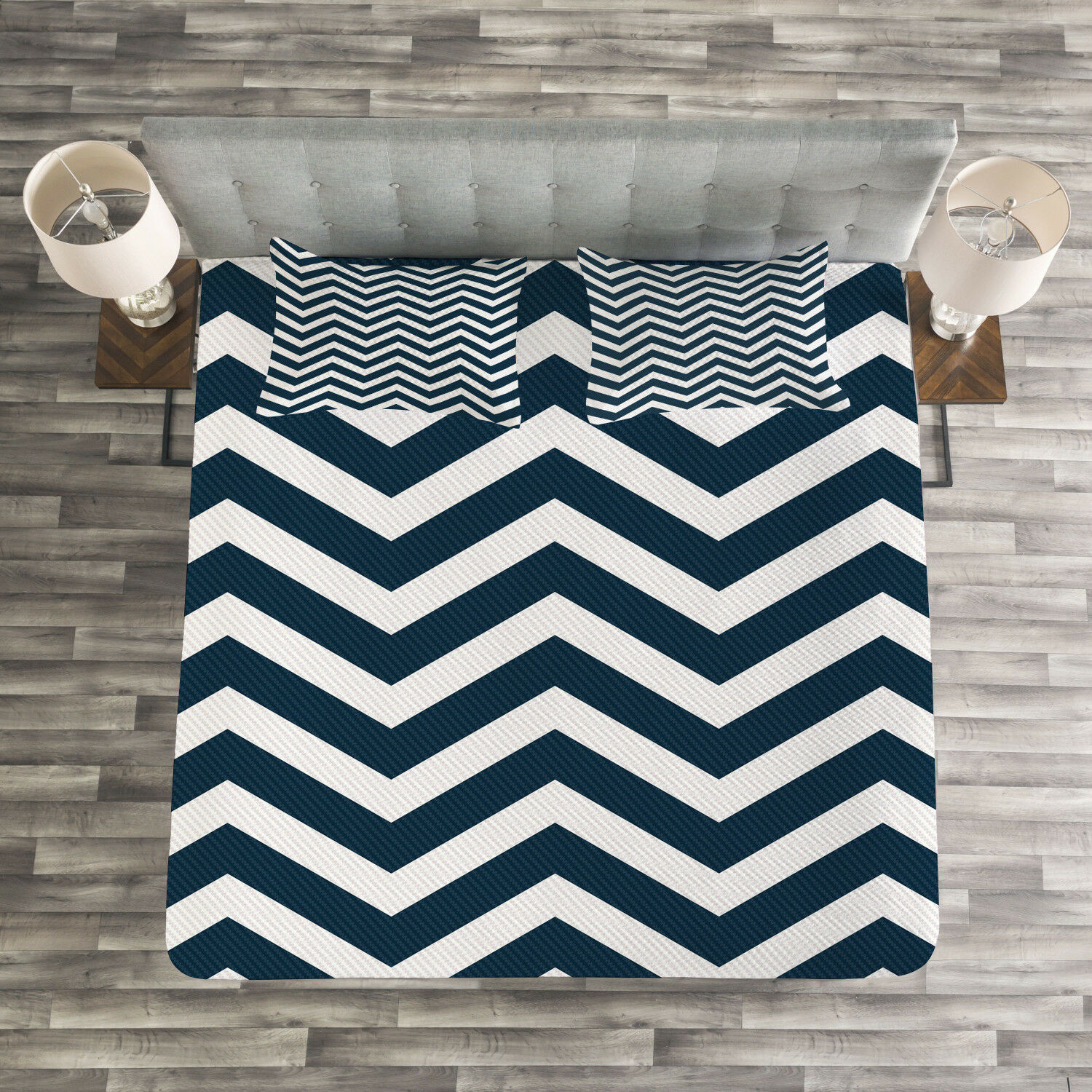 Navy Quilted Bedspread & Pillow Shams Set, Zigzag Chevron blueeee Lines Print