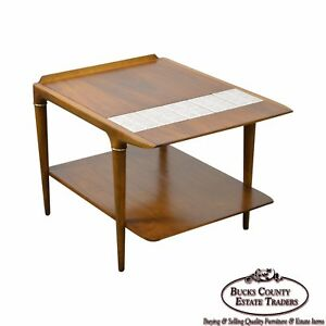 Details About Mid Century Modern Walnut 2 Tier Side Table W Tiles