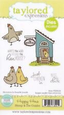 Taylored Expressions Cling Stamp & Die Set Happy Hens Sentiments Chickens