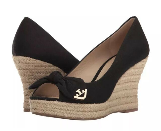 f5d441525fd NEW Tory Burch Dory 85mm Wedge Espadrille Black Canvas Peep Toe Women Shoes  11