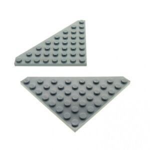 2x-Lego-Fluegel-Bau-Platte-neu-hell-grau-8x8-Ecke-SW-10188-4268343-30504