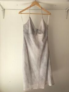Ojay-Womens-Light-Grey-Strappy-Summer-Dress-AU-Size-14-Fabric-Made-In-Italy