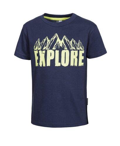 Size 2//3 Trespass Howl Boys Navy Summer Top Short Sleeve T-Shirt Cotton Blend