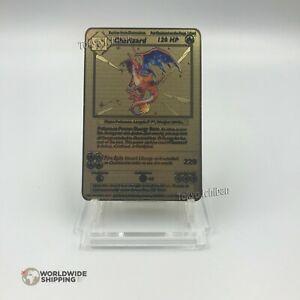Carte-Pokemon-Gold-Dracaufeu-Charizard-Metal-Gold-Card-Fan-Made-EX-GX