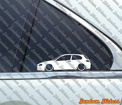 for Alfa Romeo 147 3-DOOR Facelift 2005+ 2X Lowered car outline stickers