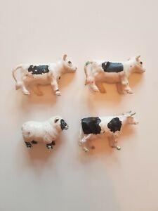 Lavoro-Lotto-X-4-VINTAGE-1980-Britains-Farm-Animali-Mucca-vacche-OVINI-Fattoria-Giocattoli-anni-039