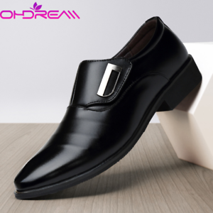 Men-039-s-Oxfords-Leather-Shoes-Pointed-Toe-Wedding-Formal-Office-Casual-Loafers-New