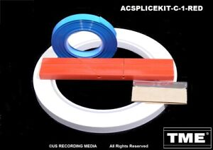 """Splicing Kit Open Reel Audio 1/4"""" With RED Splicing Block Leader & Splicing Tape"""