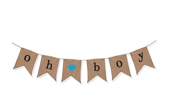 Oh Boy Burlap Banner Baby Shower Decorations For Gender Reveal Party Party For Sale Online