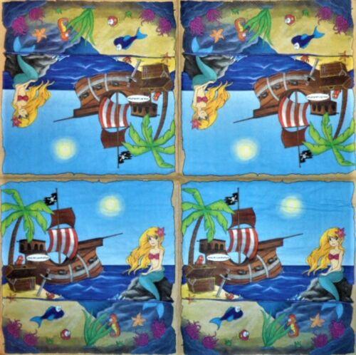 4 x Single Paper Napkins Decoupage Crafting Table Pirates Mermaid Sea 50