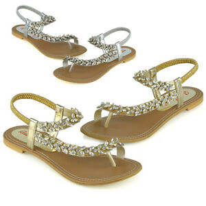 Womens-Flat-Strappy-Sandals-Ladies-Slingback-Crystal-Diamante-Holiday-Shoes-Size