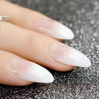 Stiletto false nails coffin false nails White Clear French ...