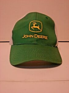 46a6156b6 Details about John Deere Snapback Trucker Hat MPC Louisville Mesh back  Green & White