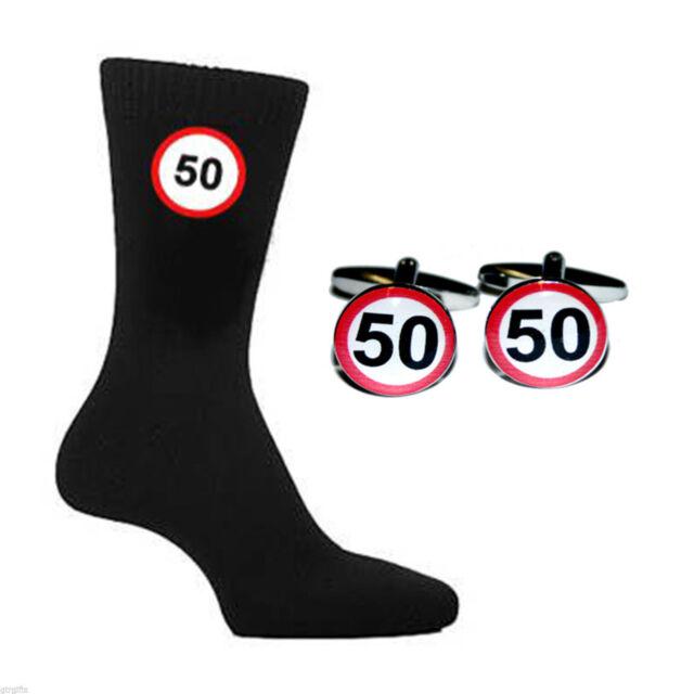 X6N057 50 mph Road Sign Landmark 50th Birthday Black Socks Adult UK 5-12