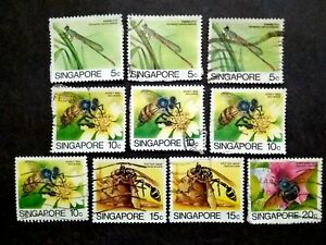 Singapore-1985-Insects-Loose-Set-Up-To-20c-Extra-10v-Used-1