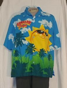 HAWAIIAN TROPIC SUN PRINT XL BUTTON UP CAMP SHIRT TAN BEACH PALM ... 07809794256