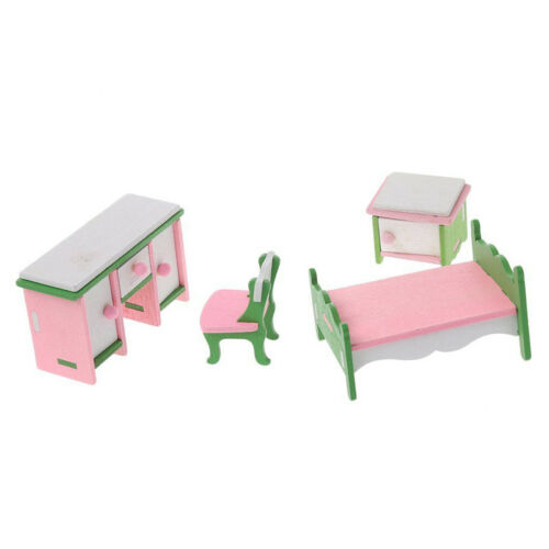 1 set Baby Wooden Dollhouse Furniture Dolls House Miniature Child Play Toys P2P3
