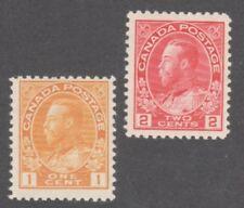 CANADA STAMPS  #105-106  — 1c+2c KING GEORGE V -  UNUSED