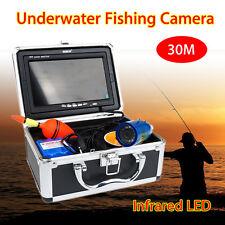 "30M 7"" Color TFT LCD Underwater Video Fishing IR Camera System 1000TVL+SunVisor"