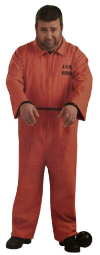 Prisoner Orange Jumpsuit Costume Set Adult Mens One Size Halloween Outfit Party