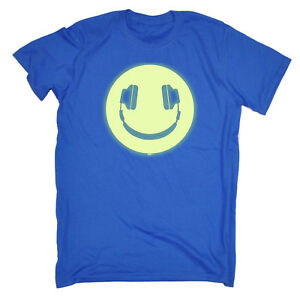 Funny-Novelty-T-Shirt-Mens-tee-TShirt-Headphone-Smile-Glow-In-The-Dark