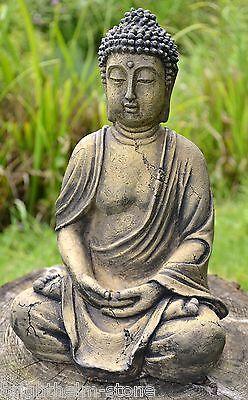 Buddha sitting hand on cheek sleeping stone garden ornament zen meditating