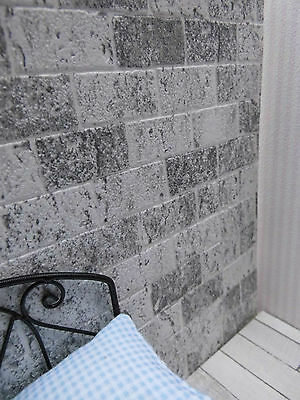 """Hellgrau-weiße,dekorative /""""Mauer-steine/""""-TAPETE,für Puppenstube,30cmx53"""