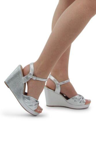 Neuf Femmes Femmes Mariage Plate-forme Wedge Bow partie de Shinny Sandales Soirée Bal Chaussures
