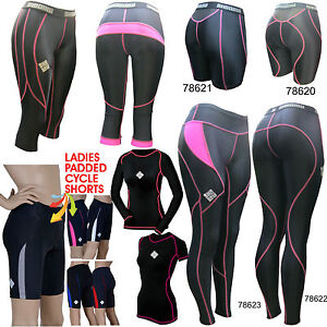 SHADOW-Ladies-compression-tights-shorts-top-cycling-running-padded-GYM-AA