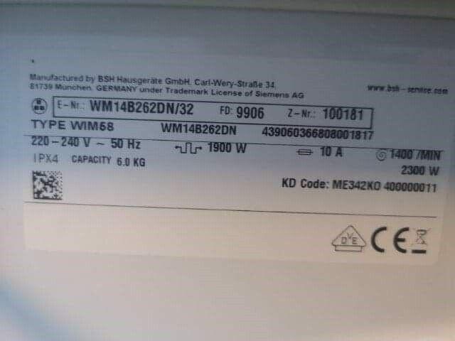Siemens vaskemaskine, frontbetjent, 1400 omdr./min.