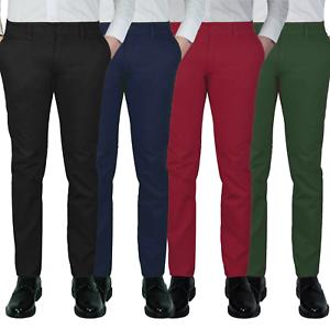 Pantalone-Uomo-Slim-Fit-Chino-Invernale-tasca-america-Cotone-Blu-Nero-Verde
