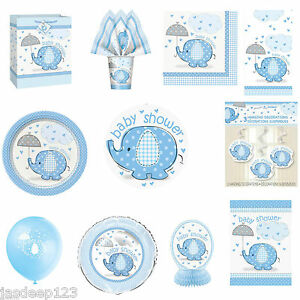 Blue-Umbrellaphants-Baby-Shower-Party-Supplies-Tableware-Decorations-Boy-Here