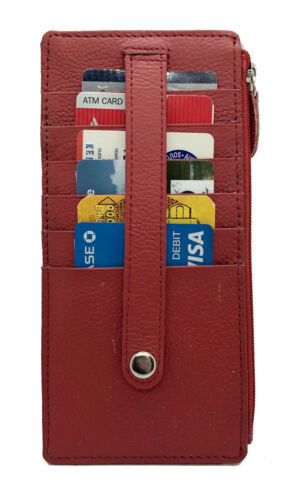 Red Lady/'s Leather Double-Sided Multi-Cards Holder Stacker Wallet